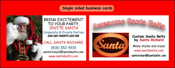 Santa cards by silent salesmen promotions samples single sided business cards colourmoves