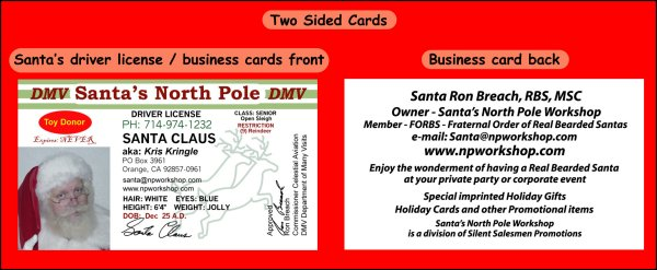 Santa cards by silent salesmen promotions sample of two sided business card santa drivers license colourmoves